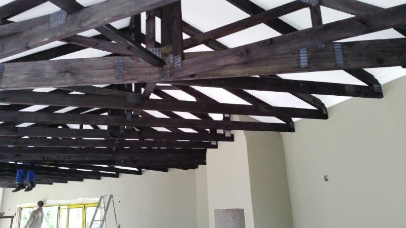 Stained Exposed Roof Trusses