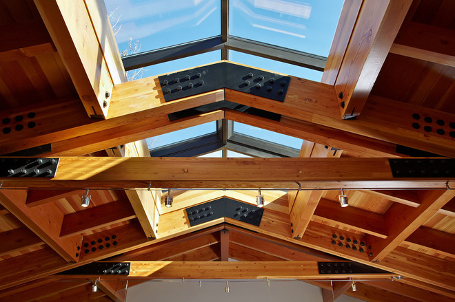 Steel Connection Exposed Roof Trusses Make Strong Impression