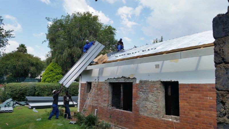 Re-roofing with chromadek IBR Kliplok Roof sheeting