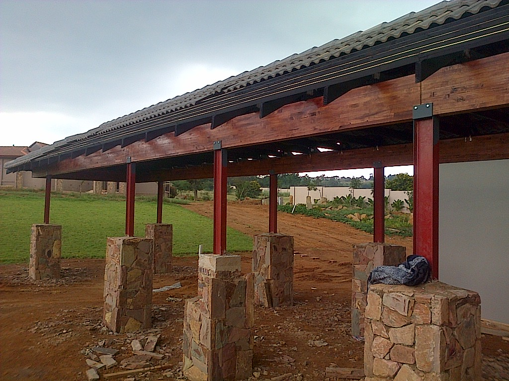 laying of roof tiles on landing
